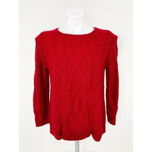 Ann Taylor Red Cable Knit Sweater Crew Neck